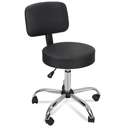 Ergonomic Office Rolling Hydraulic Swivel Chair PU Leathered Salon Spa Stool Massage Medical Stool w/Back & 5 Moving Casters