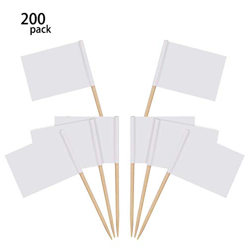 Happy Shop Mini Blank Toothpick Flags 200 Pcs White Flags Labeling Marking Cheese Markers Food Picks for Party Cake Food Cheeseplate Appetizers