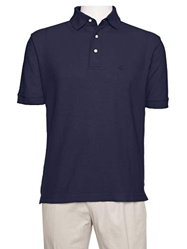 (AKA Men's Solid Polo Shirt Classic Fit - Pique Chambray Collar Comfortable Quality Navy Large)