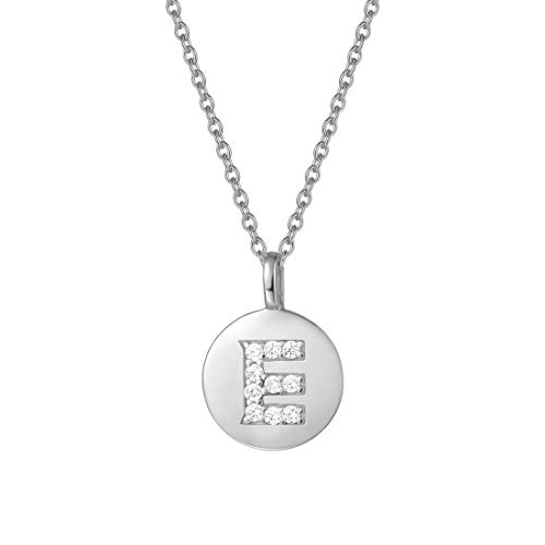 Agvana Sterling Silver Initial Pendant Necklace Round Disc Initial Cubic Zirconia White Gold Plated Letter-E Choker Necklace Gifts for Women 16