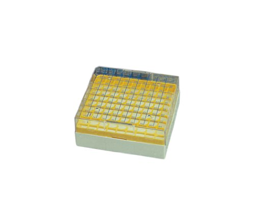 Nalgene PC Cryo Storage Box, Yellow, Hold 81 Vials, 133mm Length x 133mm Width x 52mm Height (Case of 24)