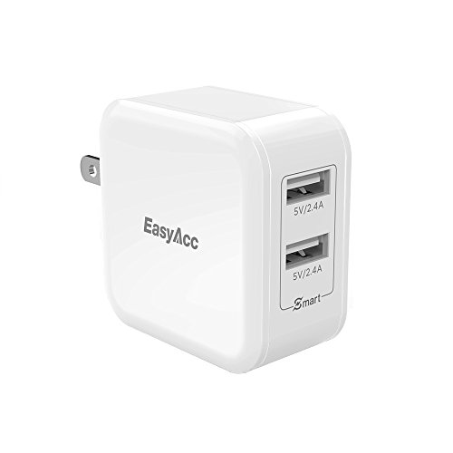 EasyAcc Wall Charger 2-Port USB Charger 24W Travel Charger with Foldable Plug for iPhone 8 Plus X 7 iPad Pro Air Mini, Galaxy S7 S6 Edge and More