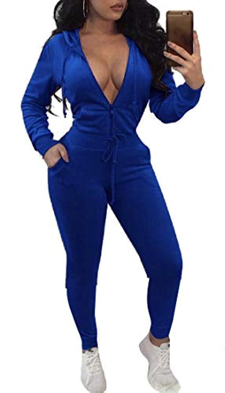 透過性環境保護主義者手術Fly Year-JP 女性ソフトスポーツジョガー2ピースジョギングスウェットスーツパーカーとスウェットパンツの衣装セット