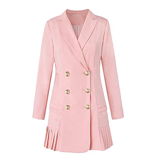 JOFOW Womens Military Jacket Dress Lapel Coat Double Breasted Pleated Hem Solid Long Winter Parkas Slim Cardigans (L,Pink) Double Breasted Silk Coat