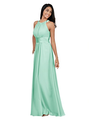 Alicepub Sleeveless Bridesmaid Dresses Long for Women Formal Elegant Halter Evening Dresses for Weddings Empire Maxi Party Prom Gown, Mint Green, US8 - Elegant Mint Green