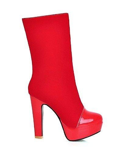 Bout en Chaussons Bottes pour Mode Femme Bottes pour Rond Polaire Chaussures Chunky Cuir Femme à Chaussons Talon red Citior 0aIqwHI