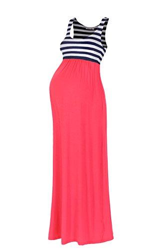 Beachcoco Women's Maternity Stripe Maxi Tank Dress (S, Coral)