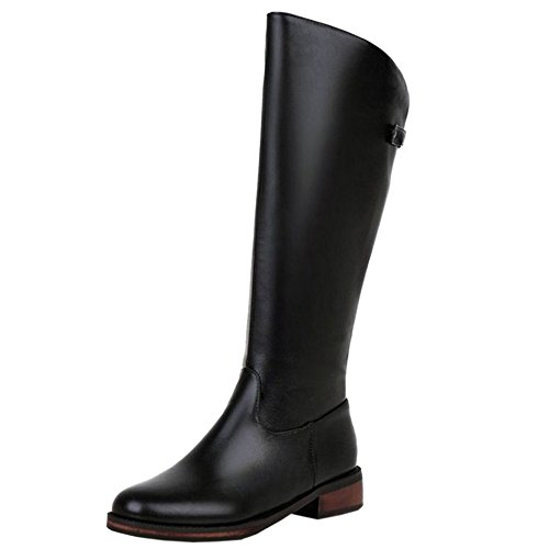 RAZAMAZA Women Simple Boots Zipper Black-25 UvzxonSo5G