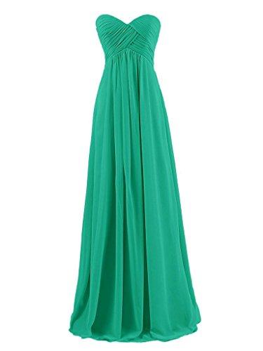 JAEDEN Sin tirantes de vestidos de noche de baile vestido de dama de honor larga plisada gasa Verde