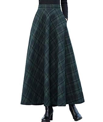 Femirah Women's Long Maxi Woolen A Line Skirt Autumn Winter Plaid Skirt