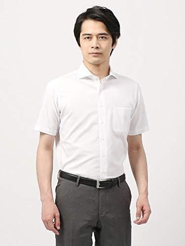 (ザ・スーツカンパニー) 半袖・NON IRON STRETCH/ホリゾンタルカラードレスシャツ 織柄 〔EC・FIT〕 ホワイト