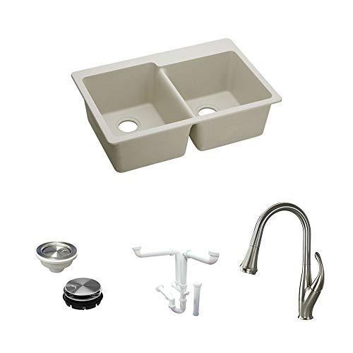 Elkay KF-ELG250RBQ0 Quartz Double Bowl Drop-in Kitchen Sink Kit, Bisque