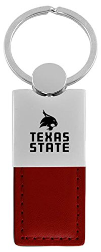 - LXG, Inc. Texas State University-San Marcos-Leather and Metal Keychain-Burgundy