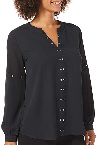 NY Collection Womens Embellished Notch Neck Sheer Top X-Large Black from NY Collection