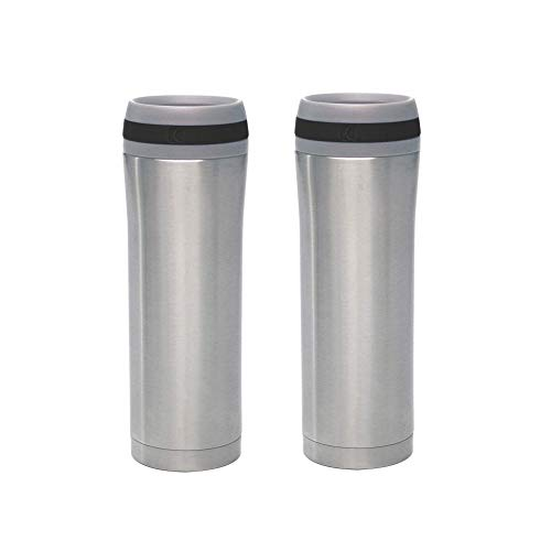 Chantal 15 Ounce Stainless Steel Push Button Vacuum Insulated Travel Mug, Black (2 Pack) ()