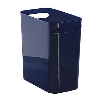InterDesign Una Wastebasket Trash Can 12 , Navy
