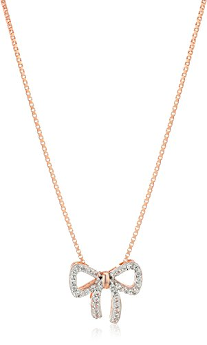 14k Rose Gold Plated Sterling Silver Created White Sapphire Bow Pendant Necklace, 18