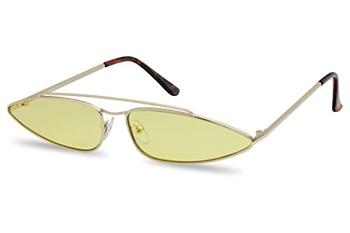 SunglassUP Ultra Slim Retro 90's Skinny Wide Oval Sun Glasses Narrow Metal Crossbrow Cateye Shades (Gold Frame | Yellow) ()