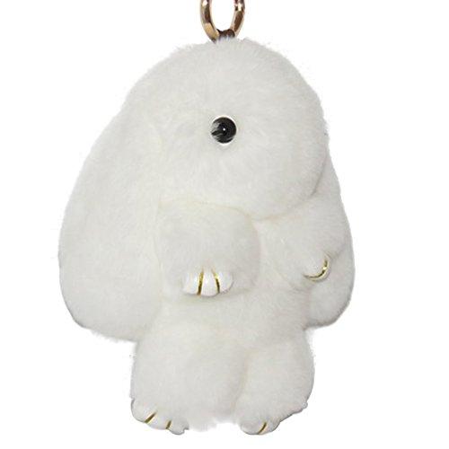 Bag Charm Pendant - BUYITNOW Bunny Keychain Plush Rex Rabbit Fur Keyring Bag Charms Pendant, 5 Inch