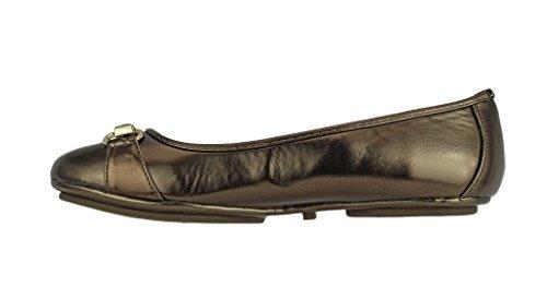 Toe 5 Bronze Vegan Rounded Leather Slip Pierre Tara Fashion Bit Flats Ballet Womens On Ornament Dumas qwxHna0