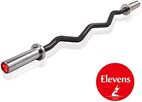 Elevens 47 Inch- 300 lb Weight CapacityOlympic Super Curl Bar – Excellent for Bicep Curls and Triceps Extensions