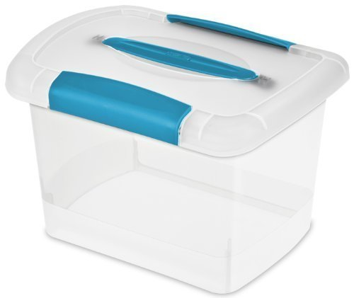 Sterilite 18728606 Small Nesting ShowOffs, Clear with Blue Aquarium Handle and Latches (Handle Lid Clear)
