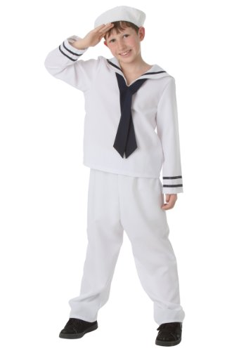 Sailor Costumes Boy (Big Boys' White Sailor Costume Medium (8-10))