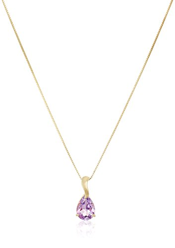 10K Yellow Gold Pear Shaped Brazil Amethyst Pendant Necklace, 18