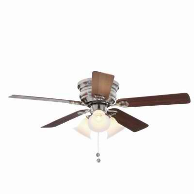 Clarkston 44 In. Brushed Nickel Ceiling Fan with Light Kit Energy Efficient and with Five reversible blades from maple to walnut by Hampton Bay