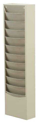 Durham 402-54 Putty Cold Rolled Steel 11 Contour Pocket Vertical Literature Rack, 9-3/4