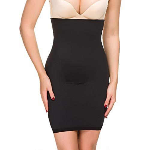 - Half Slip for Women Under Dress Seamless High Waist Shaping Panty Skirt Shapewear (Black, Large)