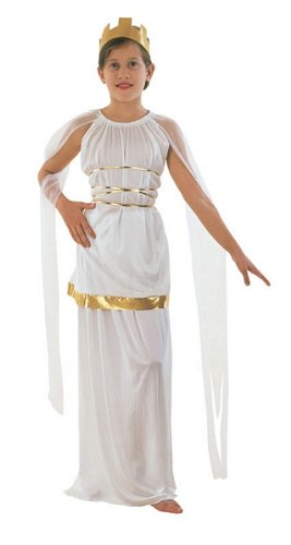 Girls Golden Goddess Costumes (Extra Large White & Gold Girls Grecian Costume)