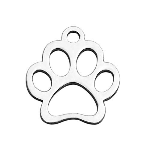 MegaPet 20pcs 304 Stainless Steel Paw-Prints Pendants Charms Doggy Animal Pet Collar Charm DIY Accessories for Bracelets Necklace Earring Jewelry Gifts for Animal Lovers, 12.9x11.8x1mm, Hole:1.5mm