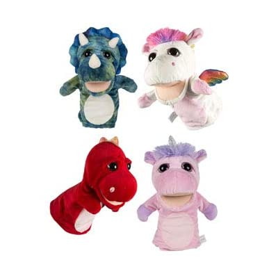 DollarItemDirect Plush Deluxe Hand Puppet 10 inches 4 Assorted Fantasy or Dinosaur 6 x 3 x 10, Case of 24: Toys & Games