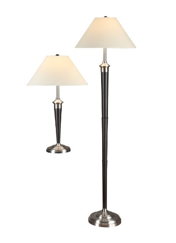 Artiva USA Twin-Pack, Classic Cordinates Table and Floor Lamps Set, Quality Brushed Steel and Espresso Finish ()