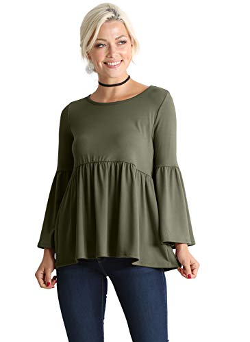 (Green Shirts for Women Womens Green Tops Green Peplum Tops for Women Baby Doll Swing Tops for Women (Size X-Large 10-12, Olive))