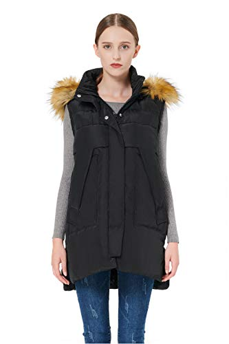 Orolay Women's Winter Long Down Vest with Faux Fur Trimmed Hood Casual Zip up Black L
