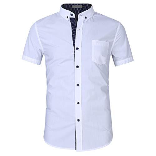 [Mollikar] Sweatproof Undershirt for Men Slim Fit Tee -/-Casual Summer Solid Button Short Sleeve Turn-Down Collar T-Shirt Top Blouse ()