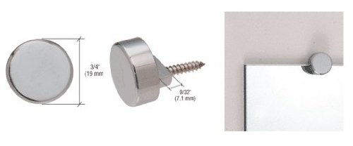 Crl brushed nickel round mirror clips set - Bathroom mirror mounting hardware ...