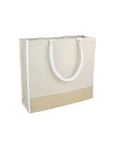 (Pack of 6) Reusable Jute Tote Bags w/ Full Gusset Laminate Backing Daily Use (Large, (Jute Backing Art)