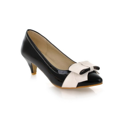 VogueZone009 Womens Closed Pointed Toe Kitten Heel Patent Leather PU Solid Pumps with Bowknot Black sbmeR1DB9