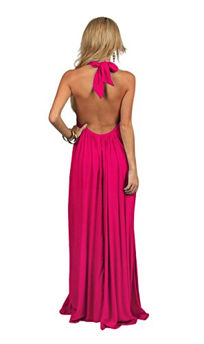 An Elan Usa Maxi Halter Tie Flowy Long Dress (RY597) (Medium, Fushia)