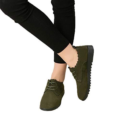 Casual En Scurit Noir De Courtes Bottes Femmes Plat Dames Lacets Daim Vert Mode Chaussures Alikeey Bottines 4YwaqFU84