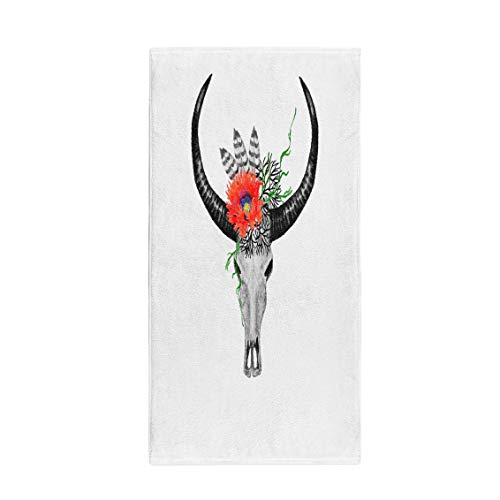(Semtomn 14 x 30 Inches Bath Towel America Watercolor Buffalo Skull Red Poppy Feathers Twigs Boho Soft Absorbent Travel Guest Decor Hand Towels Washcloth for Bathroom(One Side Printing))