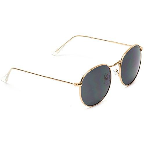 WearMe Pro - Reflective Lens Round Trendy Sunglasses (Gold Frame/Black Lens, 51) by WearMe Pro (Image #4)