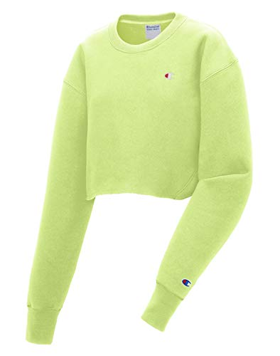 Champion LIFE Women's Reverse Weave Raw Cropped Cut Off Crew (Small, Chilled Mint ()