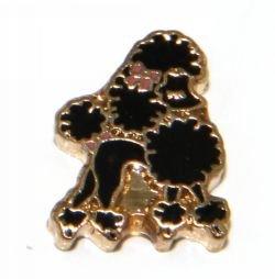 Black Poodle Dog Floating Charm for Heart (Black Poodle Charm)