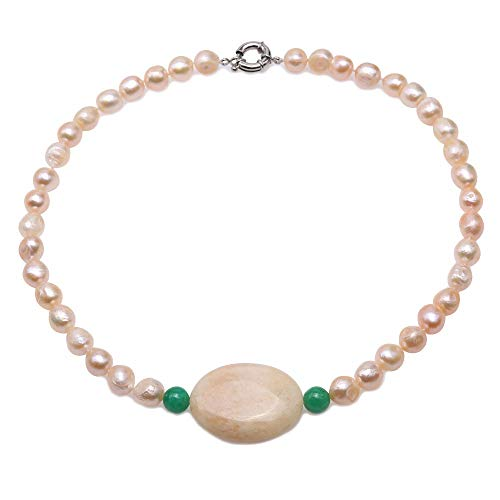 JYX Pearl Necklace 9-10.5mm Baroque Pink Cultured Freshwater Pearls with Oval Agate Pendant Necklace for Women 19.5