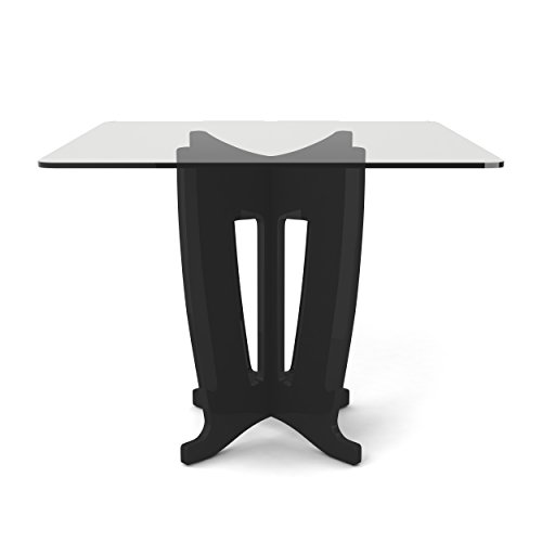 Manhattan Comfort Jane Collection Modern Square Tempered Glass 4 Person Dining Table with X Leg Design, Black Gloss