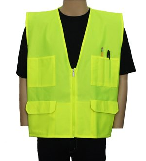 Safety Depot Multiple Colors Safety Vest with Pockets No Stripe Reflective Tape Simple Economy 8048B (Lime, 2XL)